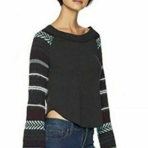 Free People Striped Sleeve Thermal Sweater Small